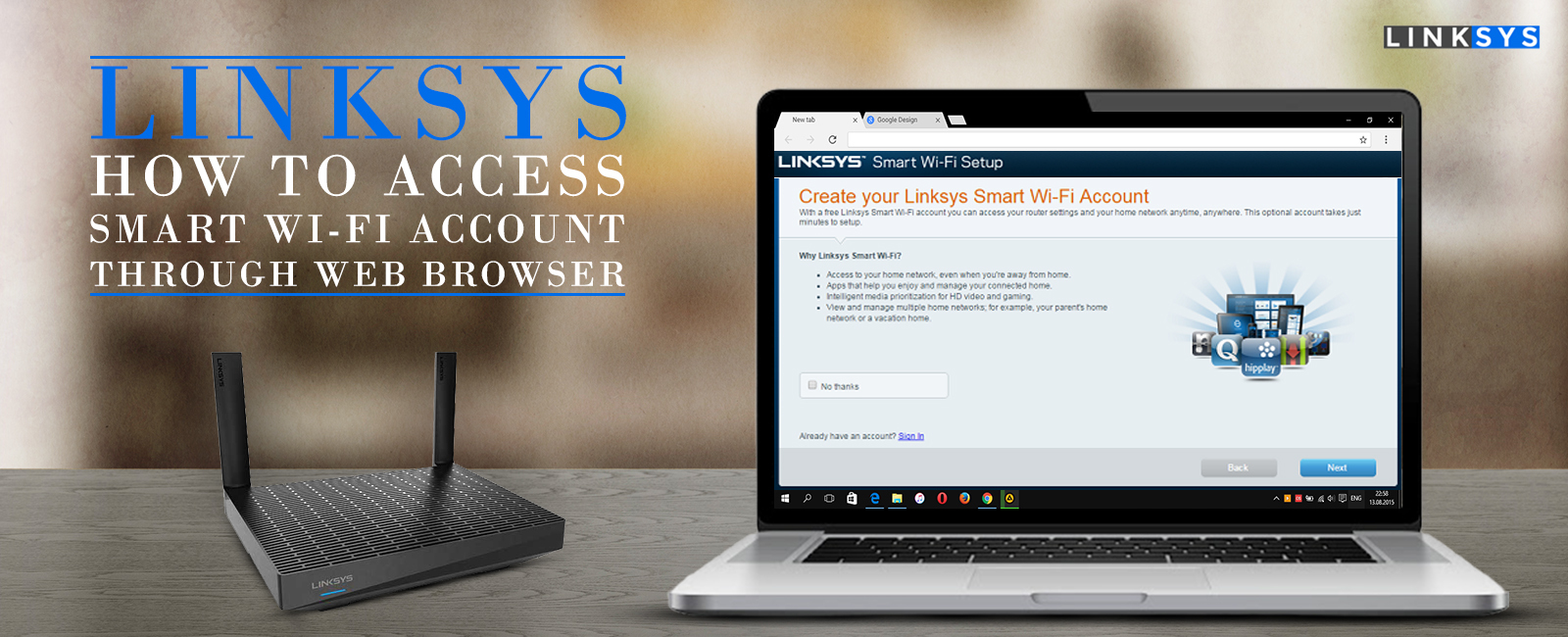 How to access Linksys smart wifi account through browser